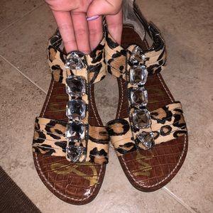 Sam Edelman cheetah print rhinestone sandals 8